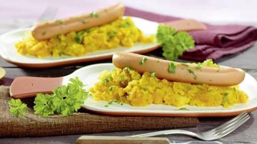 Diabetiker-Rezept: Möhren-Kartoffelstampf mit Geflügelwiener